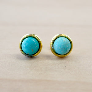 The Desiree - Gold Turquoise Studs