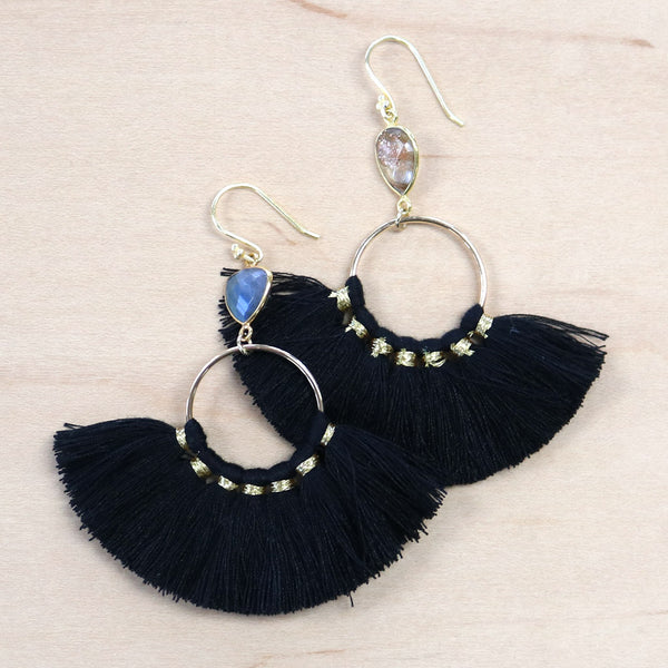 The Blaine -  Semi-precious Tassel Earrings