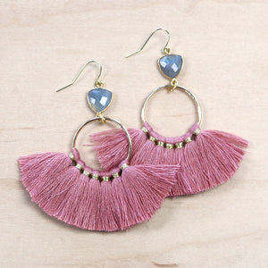 The Jasmine -  Semi-precious Tassel Earrings