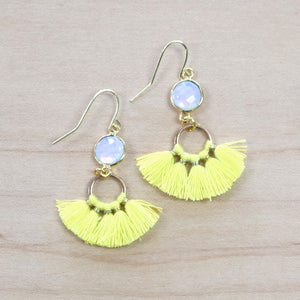 The Brenna -  yellow   - Semi-precious Tassel Earrings