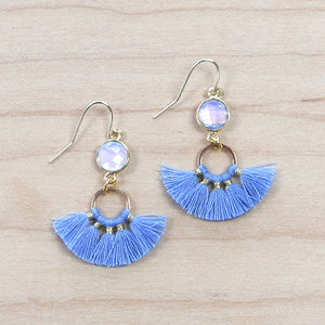 The Brenna -Blue  - Semi-precious Tassel Earrings