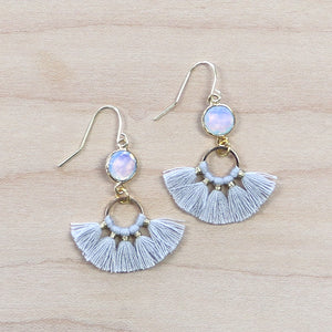 The Brenna - grey  - Semi-precious Tassel Earrings