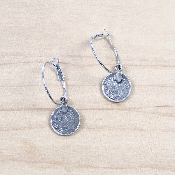 The Kat - Silver Hoop + Coin earrings