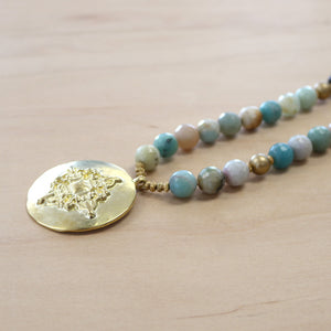 The Lara - Faceted Amazonite + Medalian Necklace