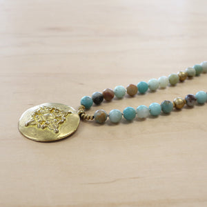 The Lara - Matte Amazonite + Medalian necklace -  Layering Necklace