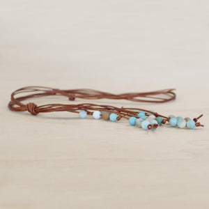 The Avery - Amazonite Semi-Precious Leather Lariat Necklace