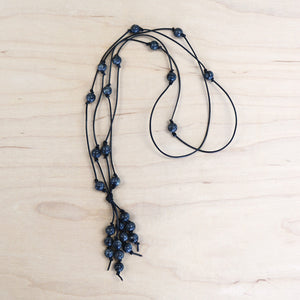 The Amanda - Larvakite Semi-Precious Leather Lariat Necklace