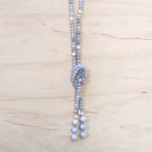 The Morgan - Gray Jade Larriat Necklace