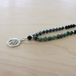The Haley - Sterling Silver Mother of Pearl Tree of Life & African Turquoise Mala Necklace