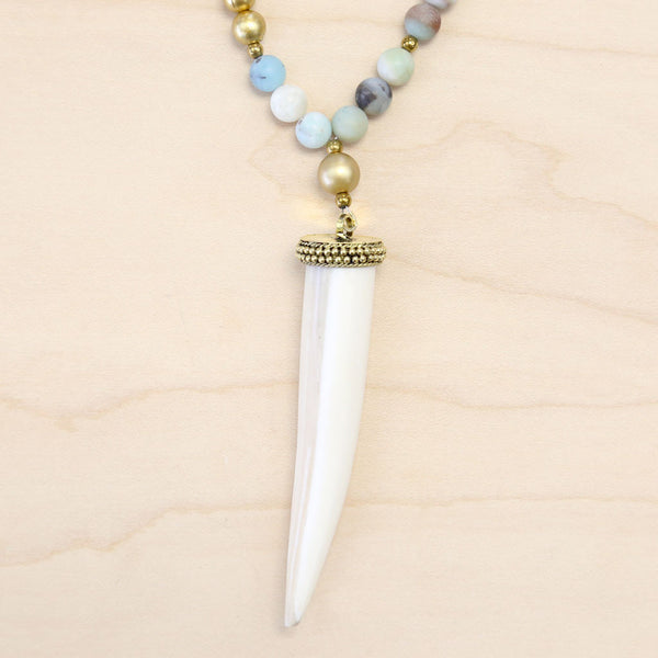 The Isabella - Leather, Amazonite & Tusk Necklace