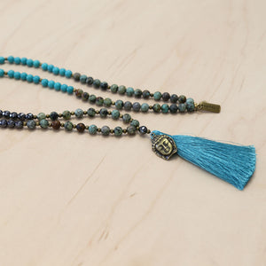 The Kiersten - African Turquoise Semi-Precious Mala Necklace