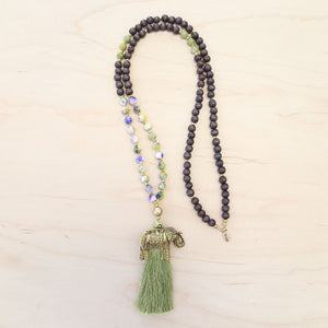 The Meadow - Green Semi-Precious Tassel Necklace