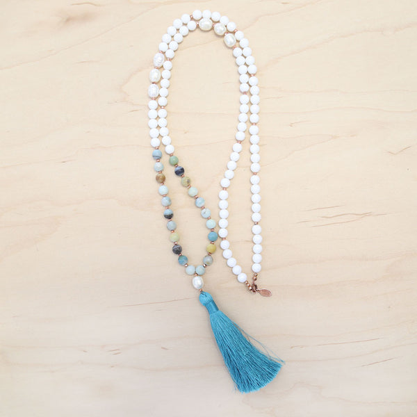 The Sydney - Amazonite Pearl Semi-Precious Mala Necklace