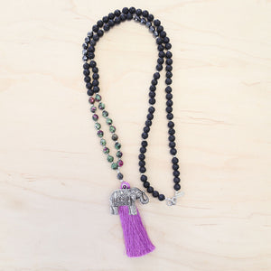 The Rachel - Ruby Zoisite + Lava Rock Mala Necklace