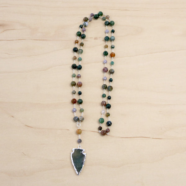 The Larissa - Indian Agate & Arrowhead Necklace
