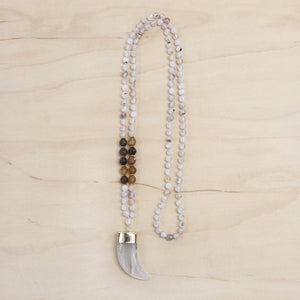 Coffee Fire Agate & Tusk Necklace