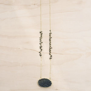 The Elisa - Hand Beaded Chain & Druzy Necklace, Black Onyx
