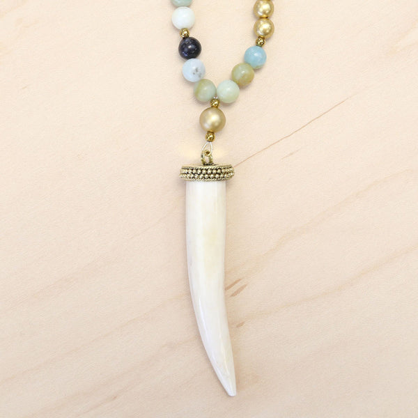 The Michelle - Leather, Amazonite & Tusk Necklace
