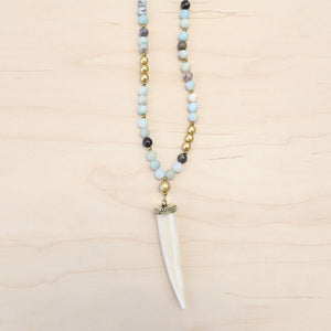 The Victora - Leather, Amazonite & Tusk Necklace