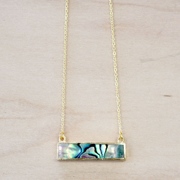 The Alicia -  Ablaone Bar Necklace