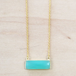 The Emma - Chalcedony  Bar Necklace