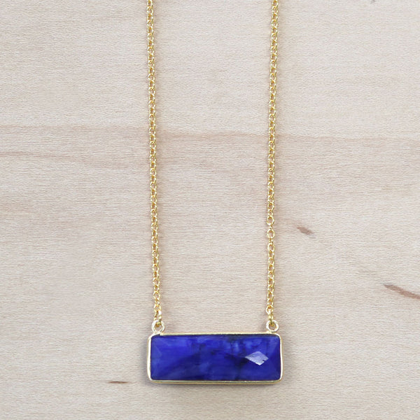 The Emma - Blue Lapis Bar Necklace
