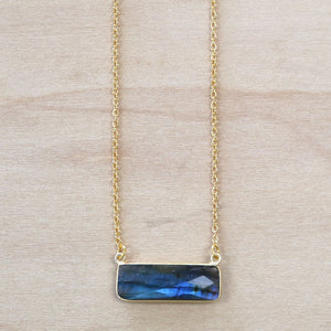 The Emma -  Labradorite Bar Necklace