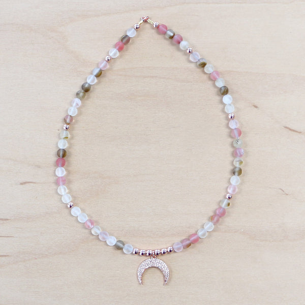 The Luna -  Strawberry Quartz Necklace