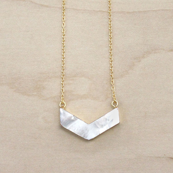 The Whitney - Mother of Pearl Chevron Necklace