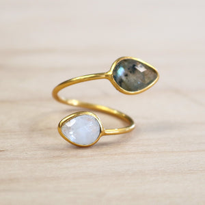 The Anya  - Labradorite + Moonstone Ring