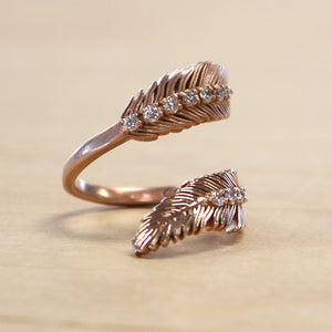 The Koko   - 14K Rose Gold + .42ct Diamond Feather Ring