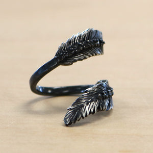 The Koko - Sterling Silver + .45ct Black Diamond Feather Ring