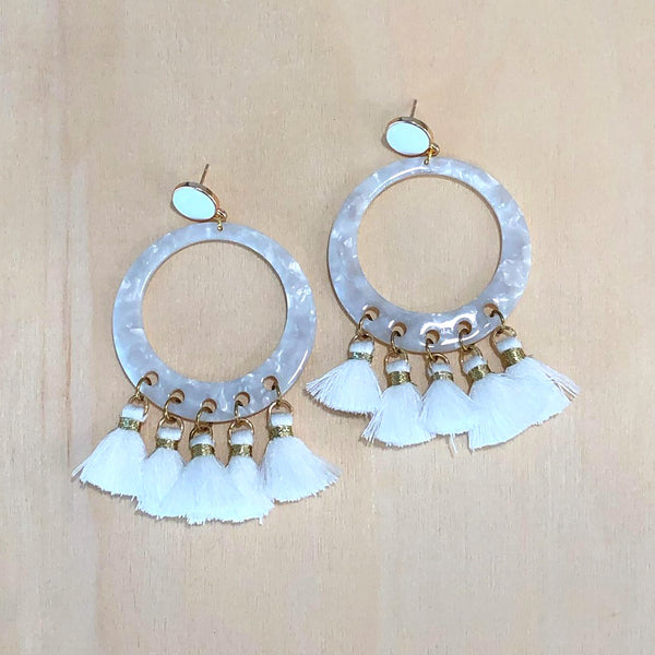 The Talia - white - Semi-precious Tassel Earrings