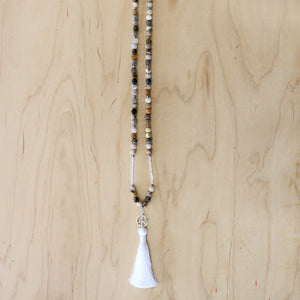 The Stella - Bamboo Agate & Sterling Silver Peace Mala Necklace