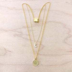The Alexis - Gold CZ moon + Coin Necklace
