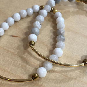 The Ashley -  light grey jade bracelet