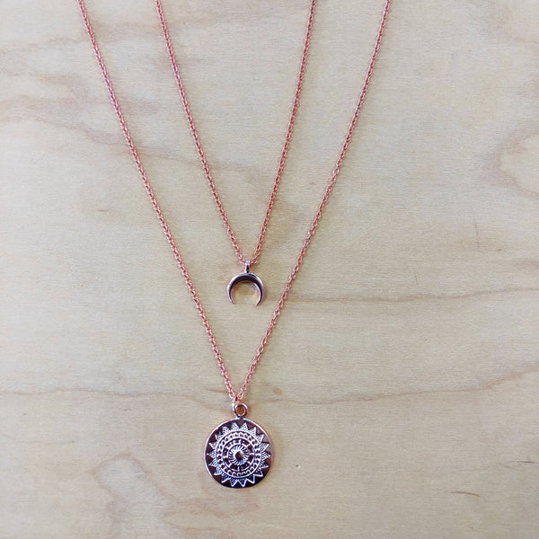 The Isla - Rose gold moon + coin necklace