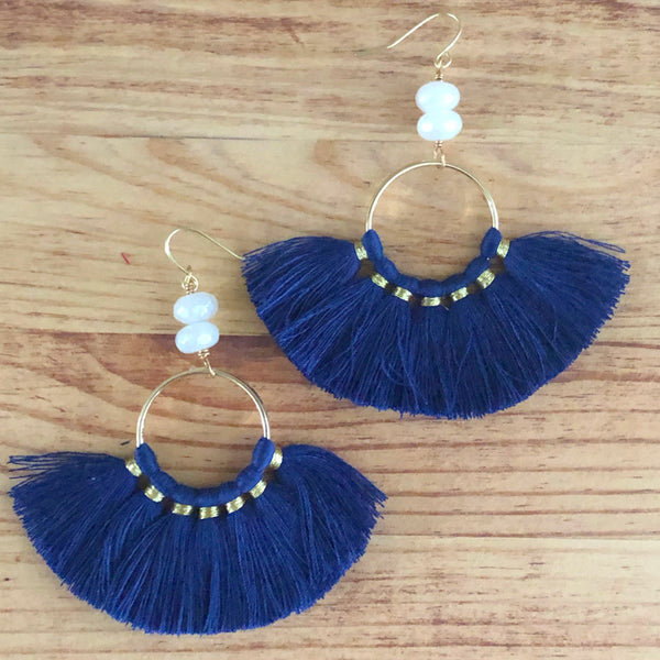 The Tamara -  Semi-precious Tassel Earrings