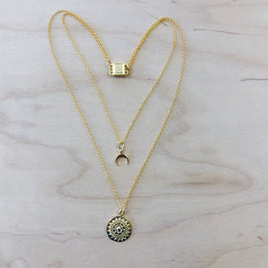 The Isla - yellow gold moon + coin necklace