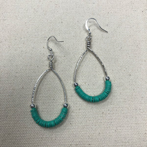 The Thea - turquoise hammered hoop earrings