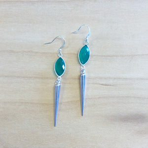The Allison - Green agate + spike earrings.