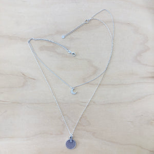 The Alexis - Silver CZ Moon + Coin Necklace