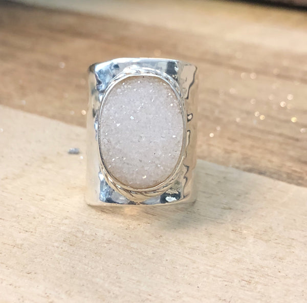 The Barbara - Sterling Silver + Druzy Ring