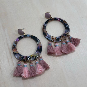 The Talia - Pink - Semi-precious Tassel Earrings