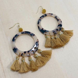 The Talia - Mustard - Semi-precious Tassel Earrings
