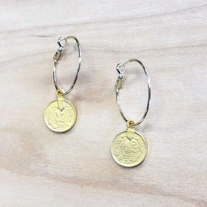 The Kat - Hoop + Coin earrings