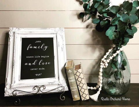 Chalk couture family transfer chalkboard sign