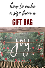 Joy sign from a gift bag