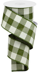 moss green plaid ribbon