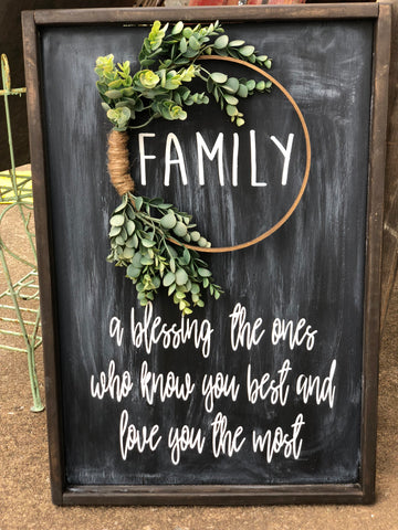 Family Sign, Embroidery Hoop Sign, Wreath Sign, A blessing, the ones who know you best and love you most